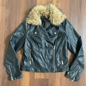 Black faux leather jacket with tan fur